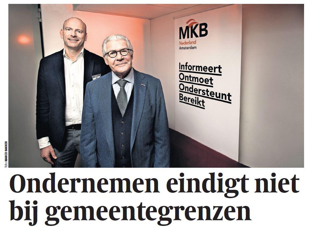 MKB Amsterdam in Parool (20-03-2018): 'Ondernemen eindigt niet bij gemeentegrenzen'