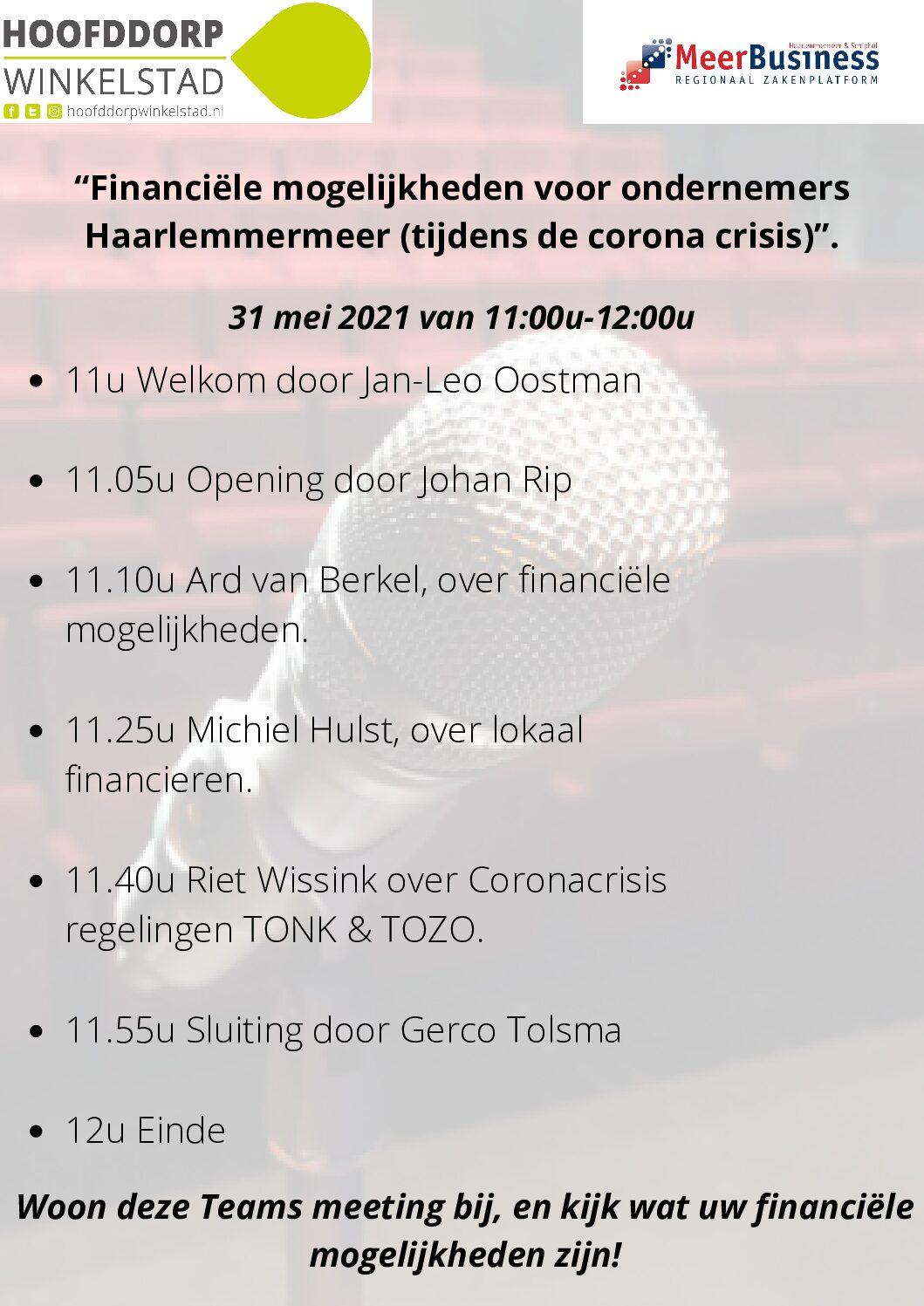 Ondernemers Haarlemmermeer: check jouw financiële mogelijkheden tijdens de coronacrisis!